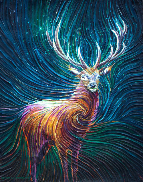 The Red Stag Energy Painting - Giclee Print