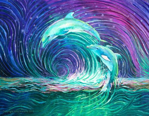 Dolphin Dance Energy Painting - Giclee Print