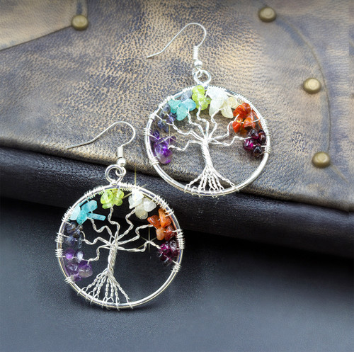 Tree Of Life 7 Chakra Energy Healing Earrings - Silver - Guaranteed Authentic Gems