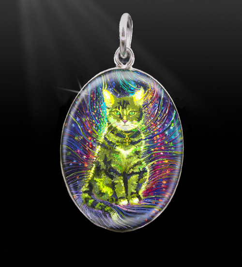 Cosmic Cat Silver Energy Charm