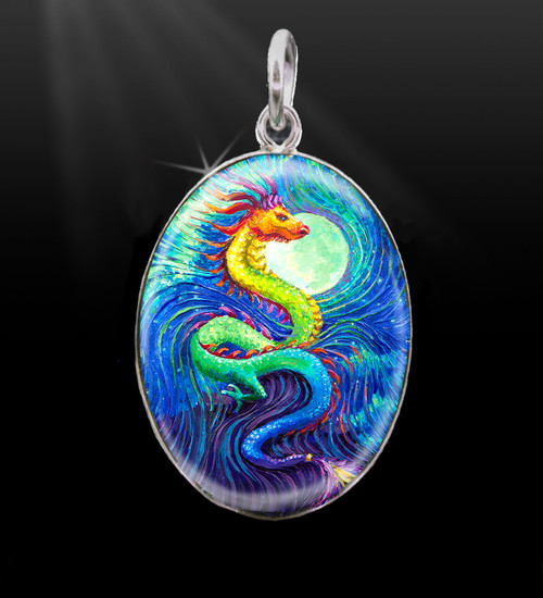 Dragon's Moon Silver Energy Charm
