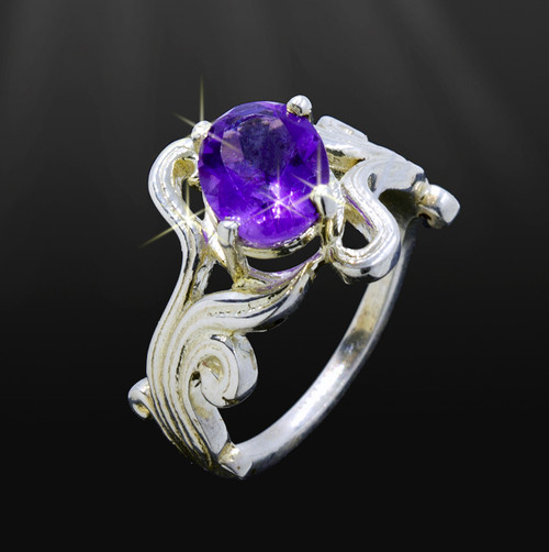 "Indian Amethyst ""Sacred River"" Ring Of Purification - Silver"