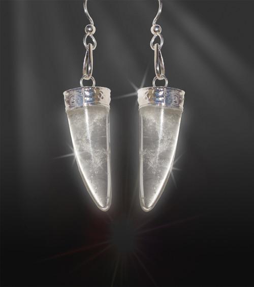 """Quartz Horn """"Girl Power""""  Energy Earrings"""
