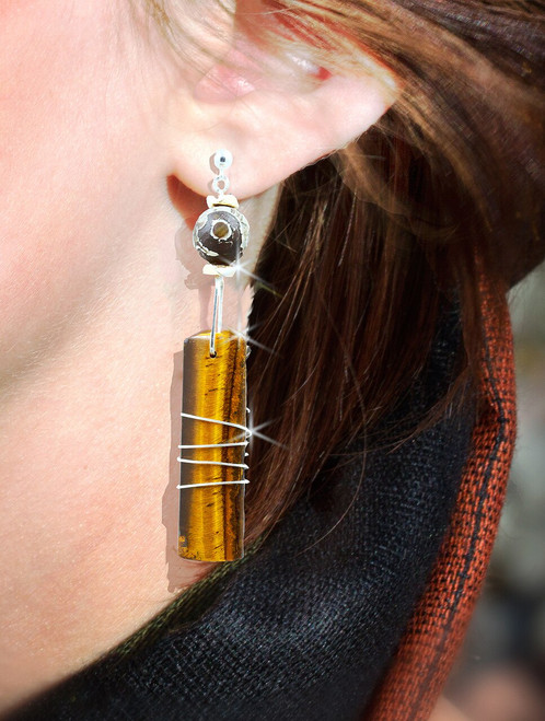 "The ""Lucky Lady"" Abundance Energy Earrings - Tiger's Eye & Agate Dzi Stones"