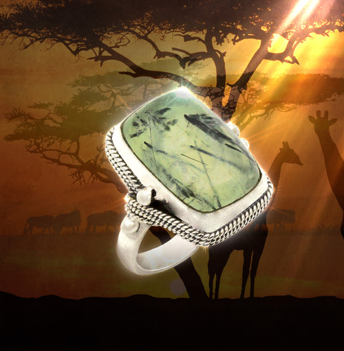 """Heart Of Africa"" Shamanic Healing Ring-  Prehnite & Black Tourmaline"