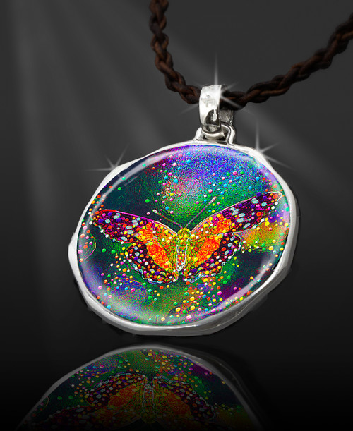 "Butterfly Transformation  Energy Pendant  From the ""New Bohemian"" Collection. Platinum Plated."