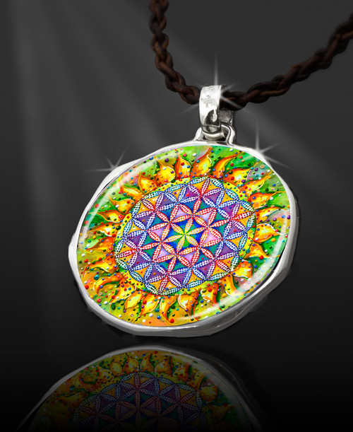 "The Flower Of Life Magical Energy Pendant  From the ""New Bohemian"" Collection. Platinum Plated."