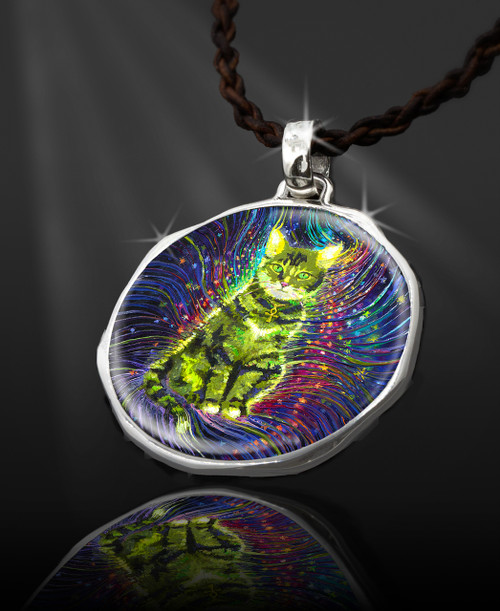 """Cosmic Cat Energy Pendant  From the """"New Bohemian"""" Collection. Platinum Plated."""