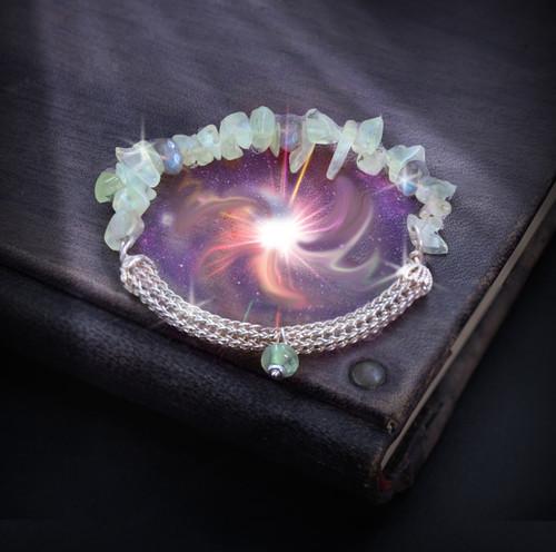Shaman's Power Divination Bracelet - Helps you sense your future. Prehnite. Labradorite. Genuine Silver Viking's Weave.