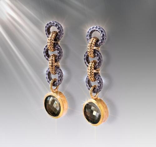 Gaia Earth Grounding Earrings - Smokey Quartz, Silver, Gold.