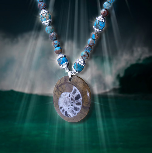 "Ancient Nautilus Fossil ""Peace And Harmony"" Necklace.  Infused with calm soothing energies."