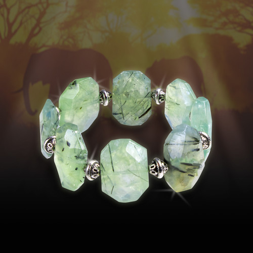 """Heart Of Africa"" Shamanic Healing Bracelet -  Prehnite & Black Tourmaline"