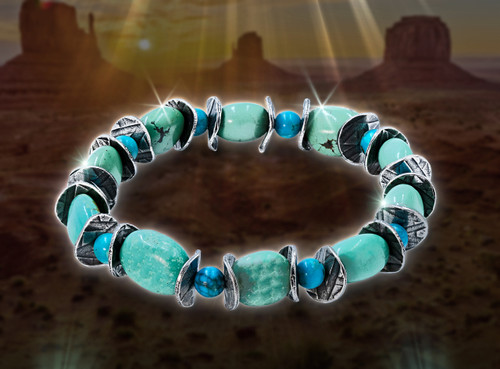 Sacred Turquoise Healing And Protection Bracelet - Unisex - Guaranteed authentic stone