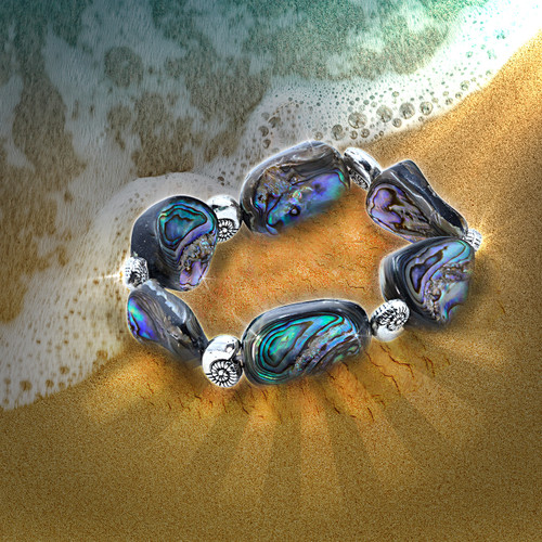 Rainbow Abalone Shield Of Protection & Comfort Bracelet - With Sacred Geometry Nautilus Beads