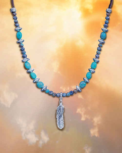 "Sacred Feather ""Blessings From Heaven"" Necklace - Turquoise And Labradorite"