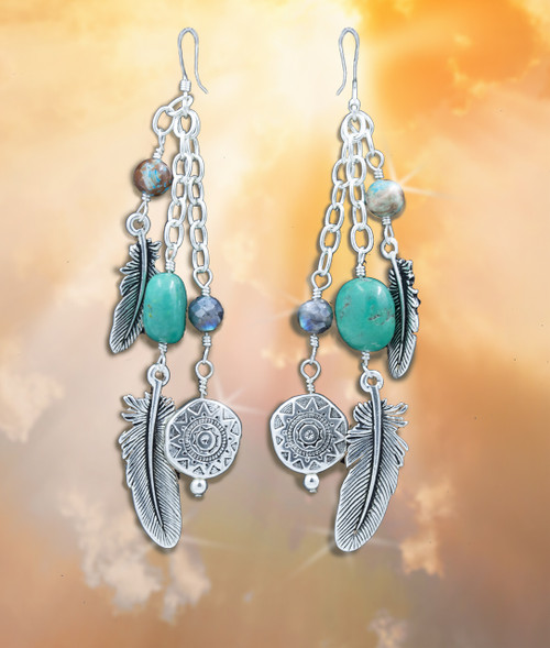 """Sacred Feather """"Blessings From Heaven"""" Earrings With Sun Calendar Disks - Turquoise And Labradorite"""