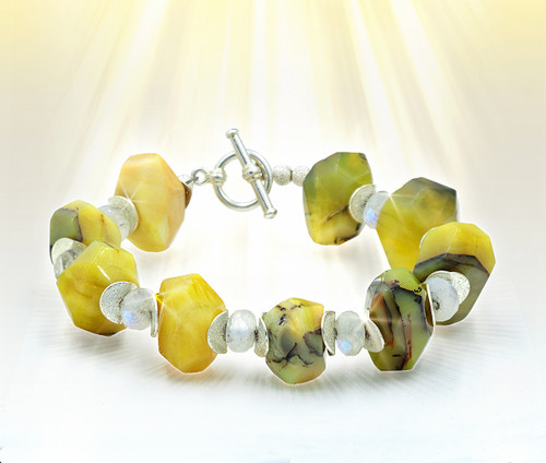 "The ""Joyful New Life"" Yellow Opal Energy Bracelet With Rainbow Moonstone"
