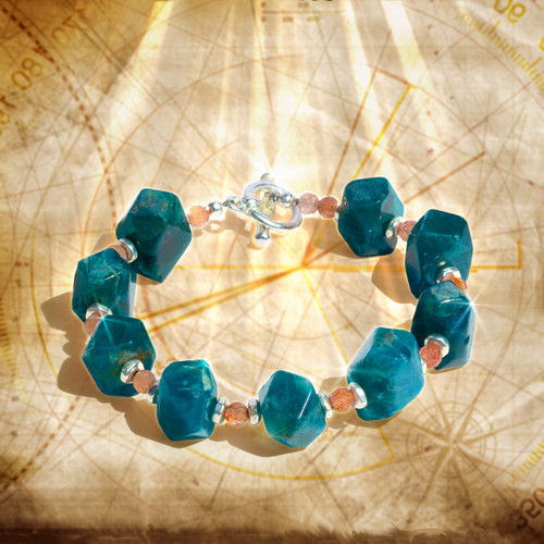 "The ""Path To Fortune & Happiness"" Sunstone And Blue Apatite Energy Bracelet"