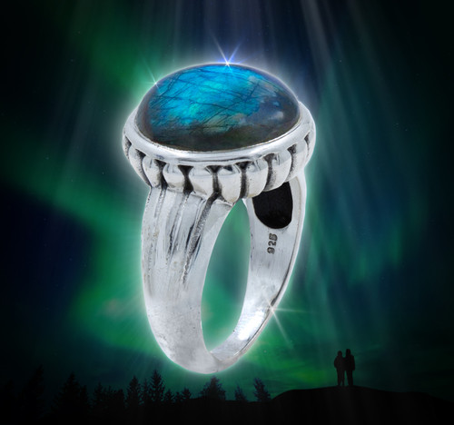 The Northern Lights Ring - Blue fire labradorite captures the mystical powers of the aurora borealis.