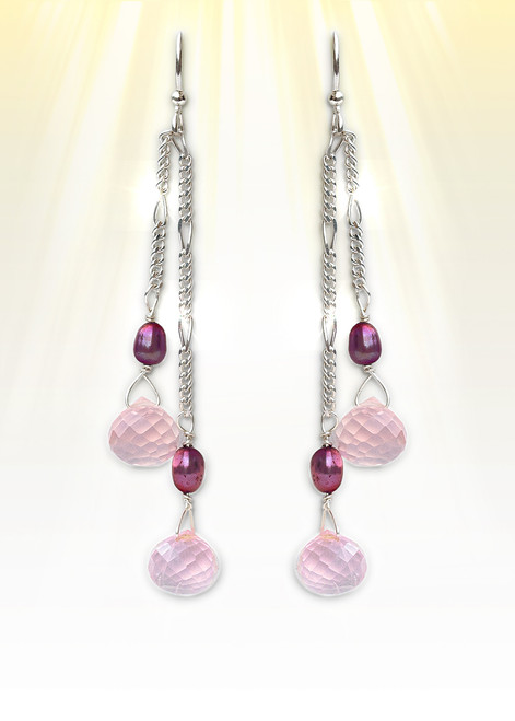 """The Ultimate """"Love Stone"""" Earrings - Very rare, gemstone grade pink passion quartz attracts love to your life."""