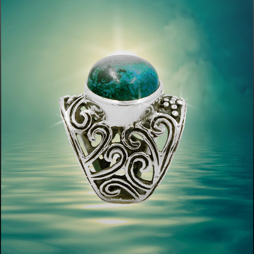"""The  Still Waters """"Peaceful Mind"""" Ring  - Helps soothe the mind's worries, restore and heal the spirit with wise, calming energies … especially useful in times of trouble.* Chrysocolla and solid silver."""