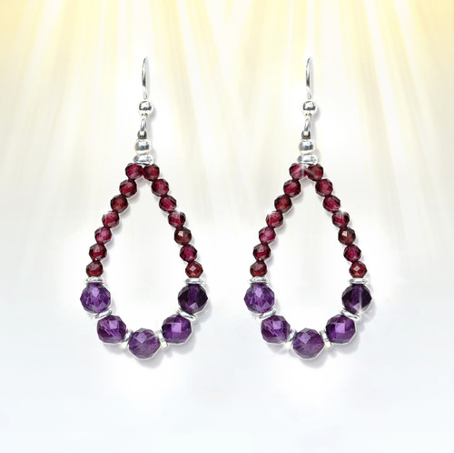 "The ""Awakened One"" Chakra Activation Earrings- Gem grade amethyst and garnet in a sacred design help foster a true spiritual awakening."