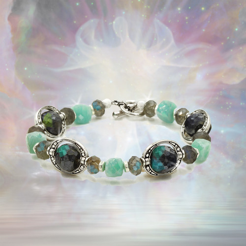 Divine Truth Speaker Communication Bracelet - Activates spiritual insights and gives you the power to communicate them.  Labradorite and amazonite.