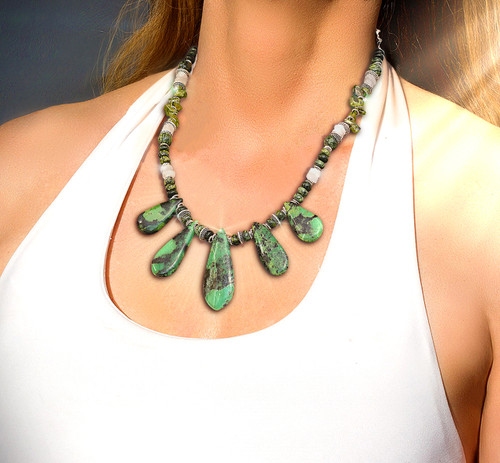 """Venus'  """"Awakened Love"""" Necklace - Heals the heart and helps love bloom. Chrysoprase,  Serpentine, Moonstone And Green Garnet"""