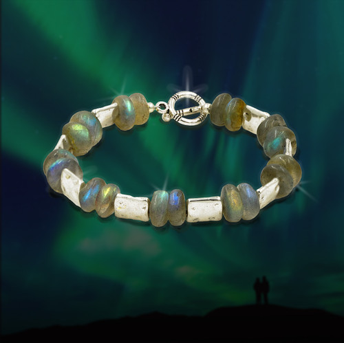 The Aurora Borealis Bracelet - Celestial fire labradorite captures the mystical powers of the northern lights.