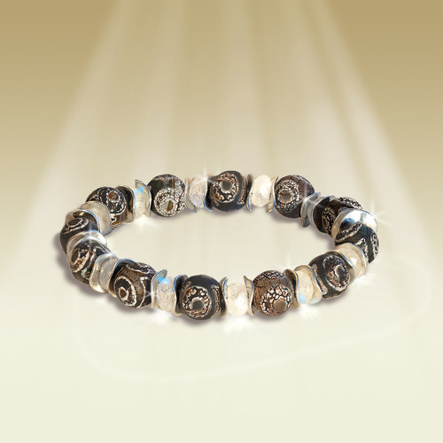 "Tribal ""Stone Of Protection"" Bracelet - Tibetan DZI Agate & Moonstone"