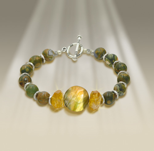 The Freedom From Worry Bracelet - Energetically lifts you above your fears and finds new ways to solve your biggest problems.   - Labradorite sun disk, citrine, rain forest rhyolite.