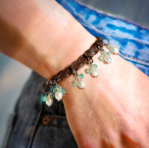 "The ""Forever Happy"" Positive Feelings Bracelet. Mood boosting pearls and aqua chalcedony."