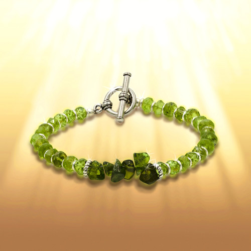 """The """"Forever Energized"""" Life Force Bracelet - Gives you a big lift when you are feeling energetically drained.  Peridot and green garnet."""