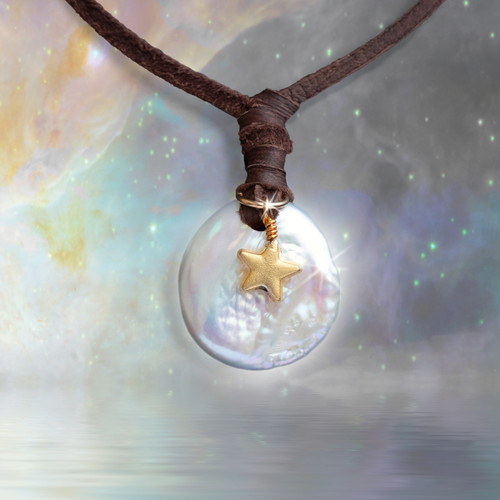 The Moon And Stars Pearl Wishing Necklace - Make a wish and watch it come true.