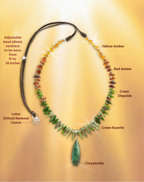"The ""Back Into The Light"" Stress Recovery Necklace - Spiritually Renewing Chrysocolla, Diopside, Kyanite And Amber"