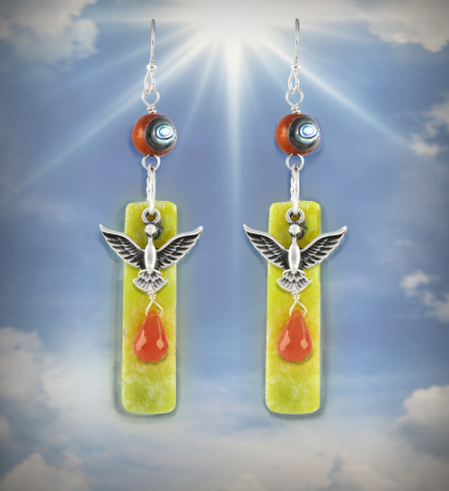 "The ""New Woman"" Rejuvenation Earrings - Spiritually uplifting phoenix design with carnelian, lemon serpentine and abalone."