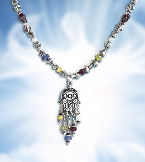 Hamsa Five Element Spiritual Protection Necklace - Calls on all 5 elements to protect you.