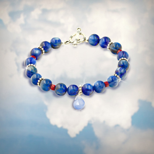The Dream Recall Memory Bracelet  With Dream Boosting Blue Kyanite, Coral and Blue Chalcedony.