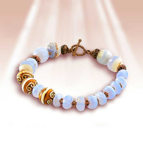 """The Great Relationships """"Loving Communication"""" Bracelet - Authentic blue lace agate and Tibetan agate"""