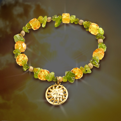 """The """"Inner Light"""" Sun Bracelet.  Peridot and citrine bring light to darkness, filling you with happiness and joy when you are feeling down."""