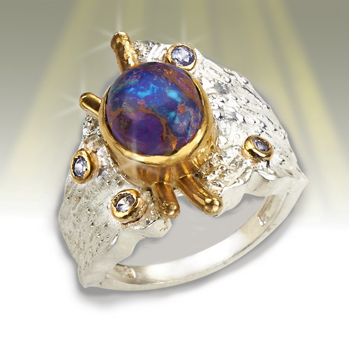 """The """"Master Healer"""" Ring - Royal Copper Turquoise, Silver & Gold"""