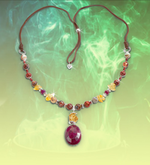 """The """"Love Potion""""  Necklace - Rare vintage ruby with garnet, citrine and laguna lace agate heightens your sensual and psychic nature."""