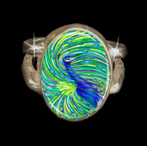 "Peacock ""Bodhisattva Awakening"" Silver Energy Ring"