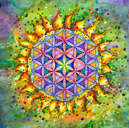 Flower Of Life Sacred Energy Painting - Giclee Print