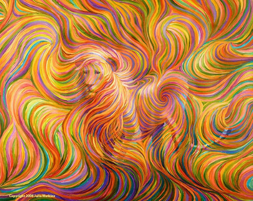 Lion Spirit Guide Energy Painting - Giclee Print