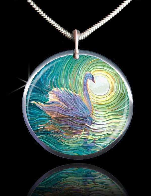 White Swan Positive Energy Pendant