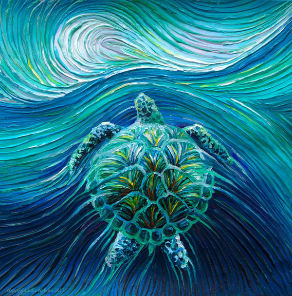 Turtle Spirit Energy Painting - Giclee Print