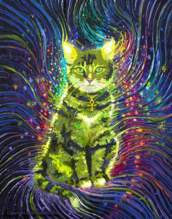Cosmic Cat Energy Painting - Giclee Print