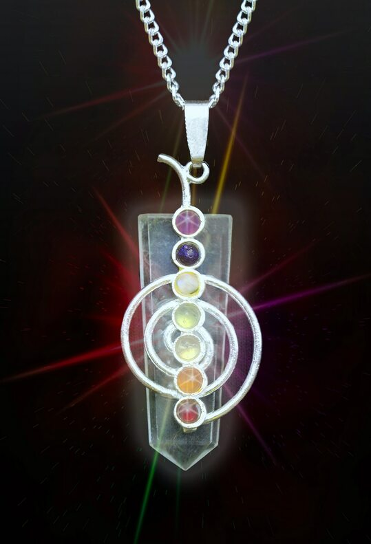 Clear Quartz 7 Chakra Cho Ku Rei Style Energy  Healing Pendant - Authentic Natural Gems - Guaranteed