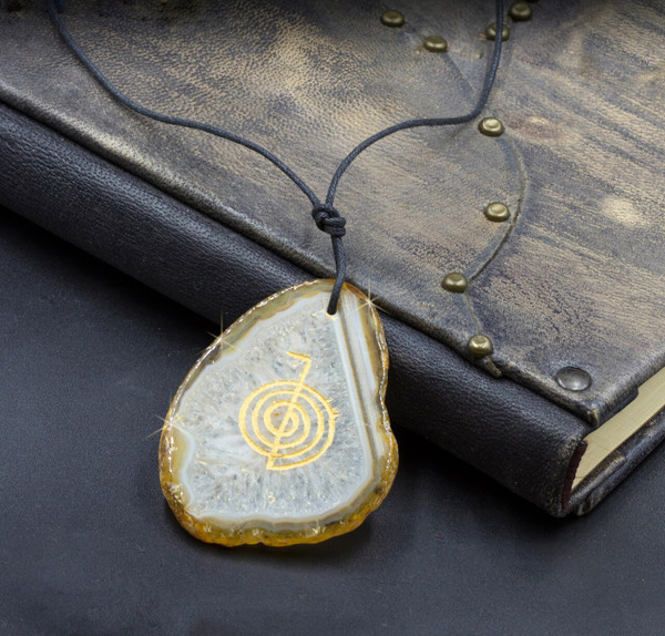Agate Cho Ku Rei Spiritual Protection And Chakra Healing Amulet - Guaranteed Natural Stone